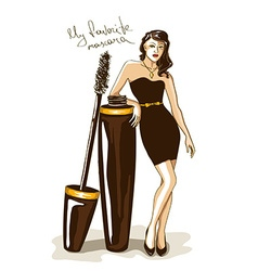 with girl and mascara vector image vector image