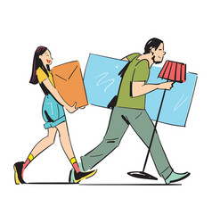 young couple carrying home furniture vector image vector image