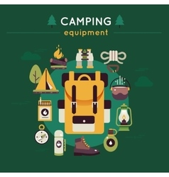Camping Colored Composition vector image