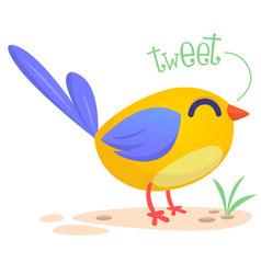 cute cartoon bird singing vector image vector image