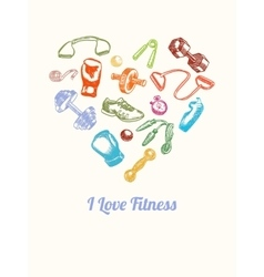 Fitness and gym Background Hand drawn colorful vector image