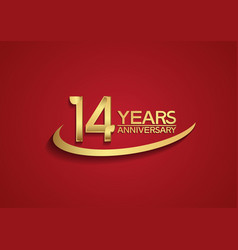 14 years anniversary logo style with swoosh vector