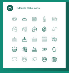 25 cake icons vector image