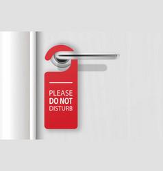 3d realistic red paper door hanger do not vector image
