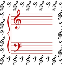 A musical stave vector