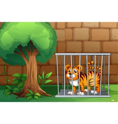 A tiger inside steel cage vector