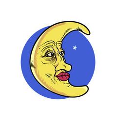 Aged moon character vector