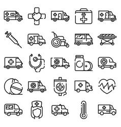 ambulance icons set outline style vector image