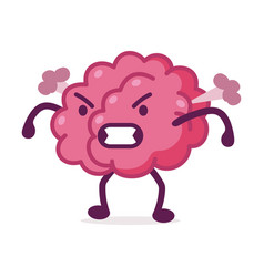 Angry pink brain with steam blowing from ears vector