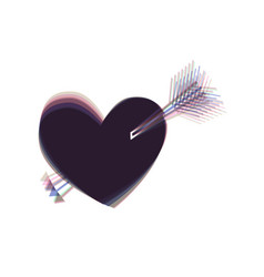 arrow heart sign colorful icon shaked vector image