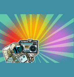 astronaut with boombox audio and music vector image