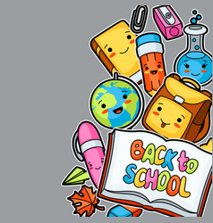 Back to school kawaii background with cute vector