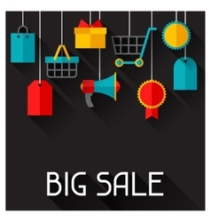 Background with sale and shopping icons in flat vector image