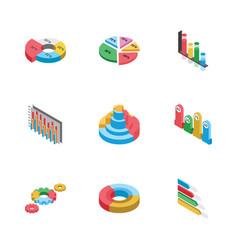 bar graphs and graphic designs flat icons pack vector image