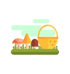 Basket And Three Mushrooms vector