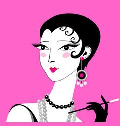 Beautiful graphic retro style girl portrait on vector
