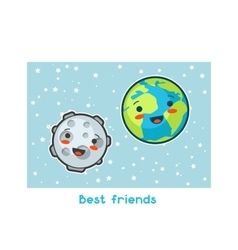 Best friends Kawaii space funny card Doodles vector image