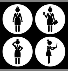 black and white set businesswomen avatar in vector image