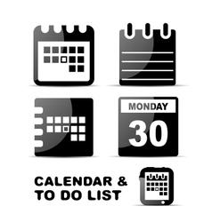 Black glossy calendar icon set vector image