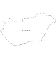 Black White Hungary Outline Map vector image