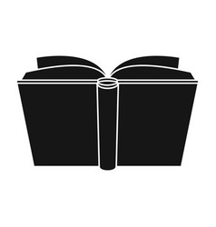 blue opened book icon in black style isolated on vector image