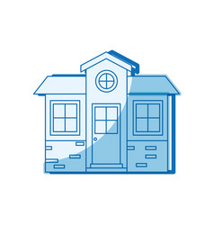 Blue shading silhouette of small house facade vector