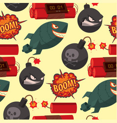 bomb dynamite fuse seamless pattern vector image