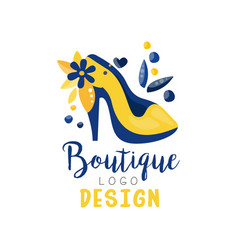 boutique logo design fashion clothes shop store vector image