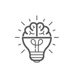 brain idea icon light bulb with brain vector image