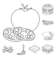 burger and ingredients outline icons in set vector image