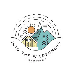 Camping into wilderness logo design travel vector