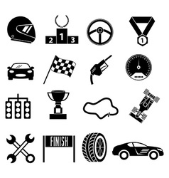 Car racing icons set vector image