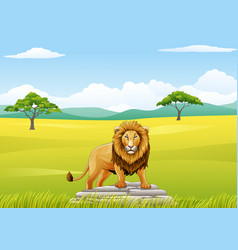 cartoon lion mascot landscapes vector image