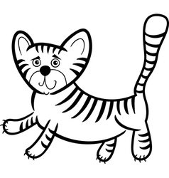 cartoon tiger for coloring book vector image