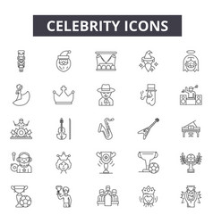 Celebrity line icons for web and mobile design vector