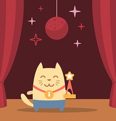Character winner with a medal colorful flat vector