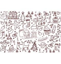 Christmas Symbols Doodles vector image