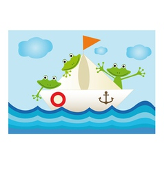 Colorful with frogs on the ship vector image