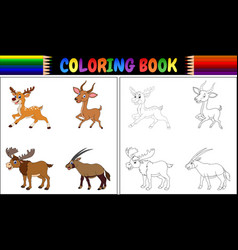 coloring book with horned animals collection vector image