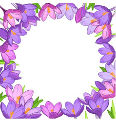Crocus saffron floral wreath border frame template vector