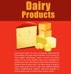 Dairy products with cheese and text vector image