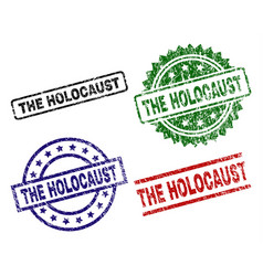 Damaged textured the holocaust seal stamps vector