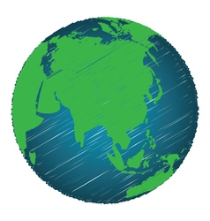 Earth sketch hand draw focus asia continent vector