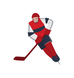excited hockey player rushing at high speed to vector image