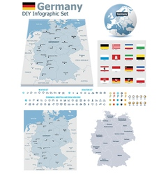 Federal Republic of Germany maps with markers vector
