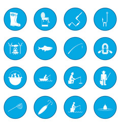 Fishing icon blue vector