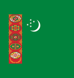 flag of turkmenistan official colors and vector image