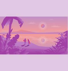 Flat design landscape with surfers couple with vector
