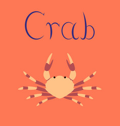 Flat on background animal crab vector