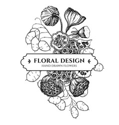 floral bouquet design with black and white feather vector image
